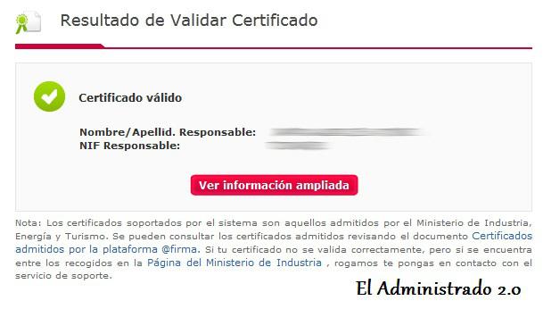 Cómo confirmar la validez de un certificado en VALIDe