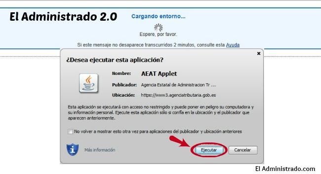 Ejecutar AEAT Applet para cargar el formulario