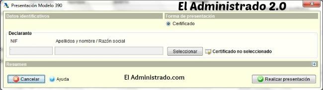 Seleccionar certificado digital para presentación del Modelo 390