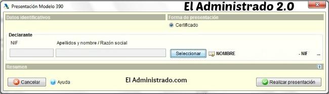 Certificado digital seleccionado para presentación del Modelo 390