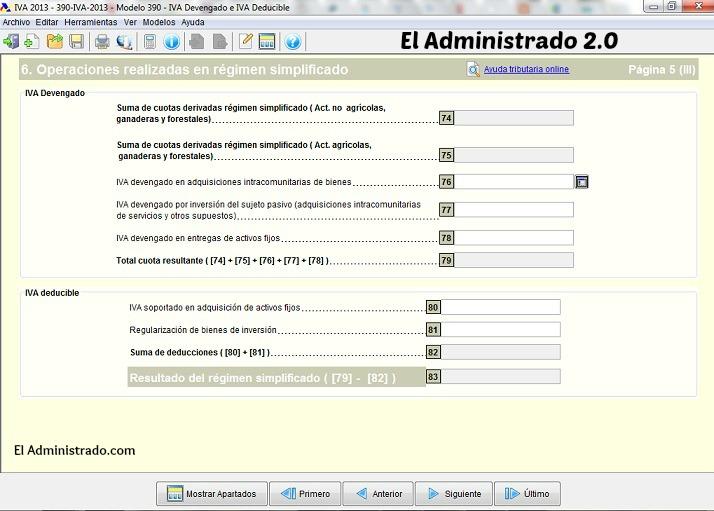 Modelo 390. IVA soportado y deducible en el Régimen Simplificado