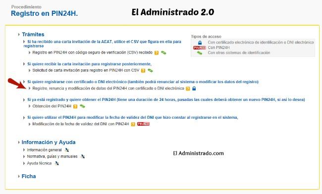 Selecciona el uso de certificado digital en el sistema PIN24H
