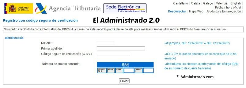 Datos necesarios para el registro en PIN24H con CSV