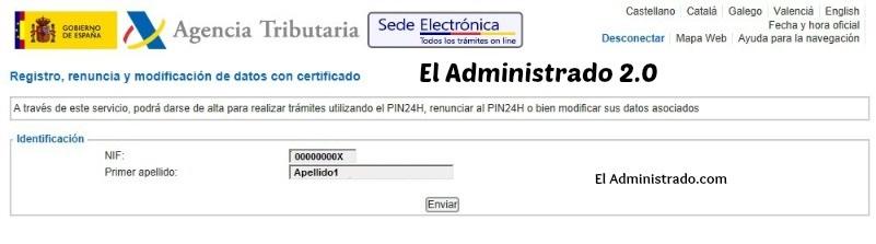 Confirmación de datos para alta en PIN24H