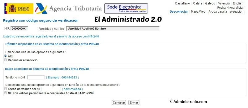 Registro en el sistema PIN24H