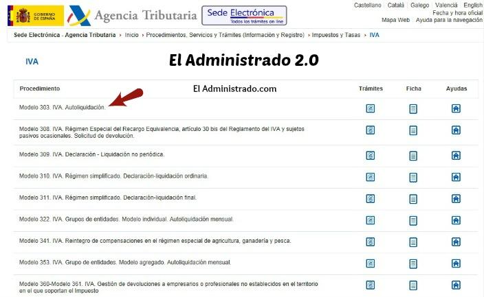 Cumplimentación online del modelo 303 del IVA