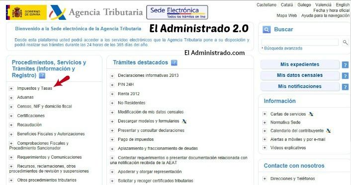 """Entrada de la Sede Electrónica de la AEAT con """"Impuestos y Tasas"""" señalado"""