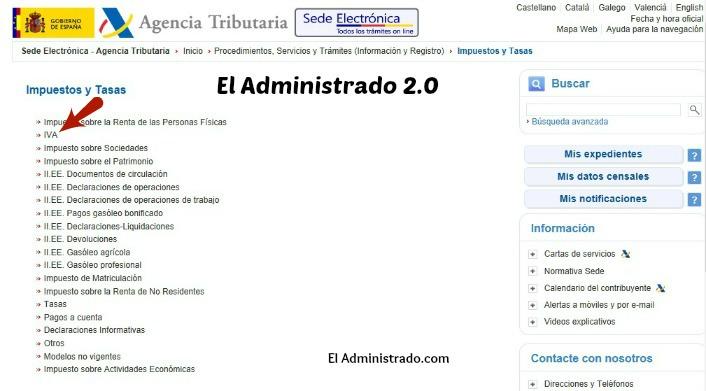 Listado de impuestos de la sede electrónica de la AEAT con el IVA señalado