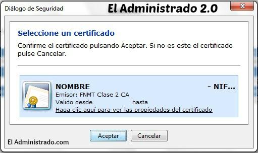 Seleccionar un certificado digital para firma o identificación