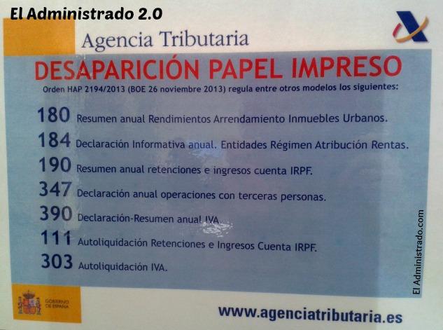 Lista de declaraciones que ya no pueden presentarse en papel en Hacienda en 2014