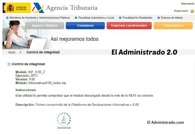 Control online de la versión del programa de la AEAT