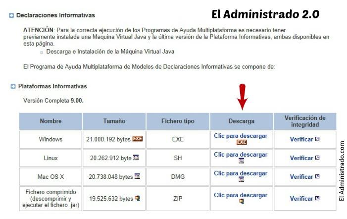 Descarga el programa oficial de la AEAT