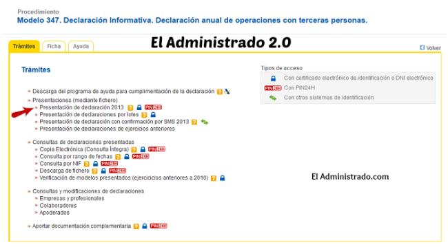 Selecciona como vas a presentar el modelo 347 en la web de la Agencia Tributaria