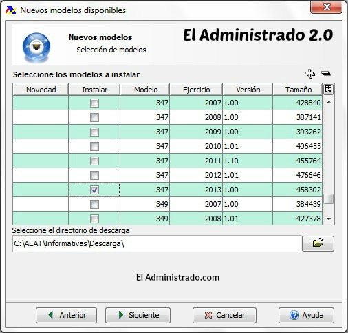 Selecciona los modelos que quieres instalar en tu programa de la AEAT