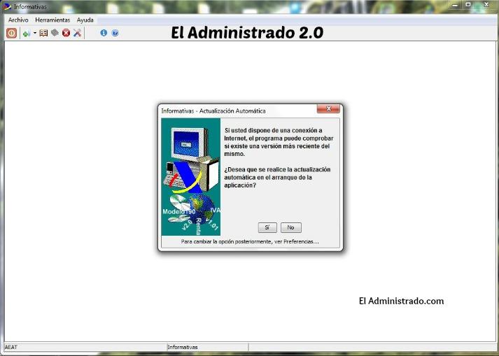 Aviso cuando instalas por primera vez el programa de la AEAT