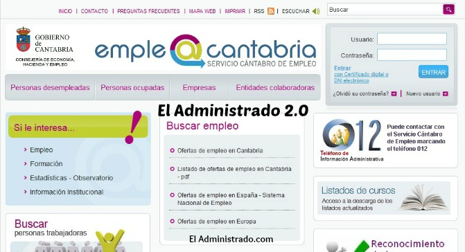 Web del Servicio Cántabro de Empleo