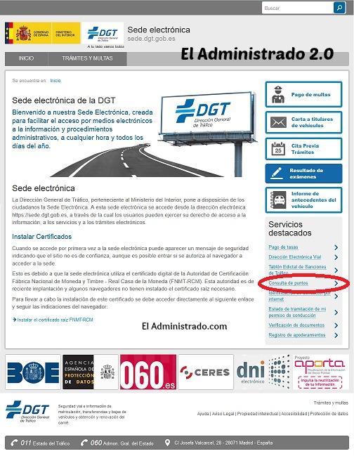 Web de la DGT para consultar los puntos del carnet de conducir