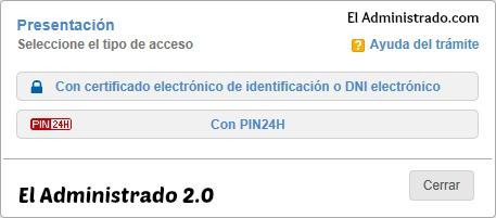 Elige entre firmar con certificado digital o PIN24H