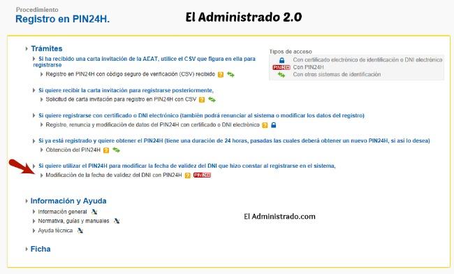 Selecciona el cambio de fecha de validez del NIF con PIN24H
