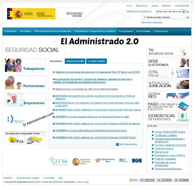 Web de la Seguridad Social española