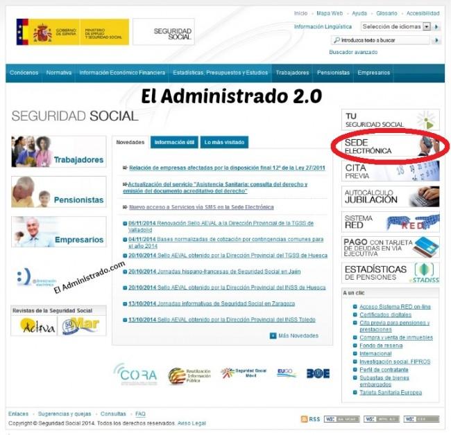Acceso a la Sede electrónica de la Seguridad Social desde su web