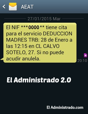 SMS de confirmación de tu cita previa en Hacienda
