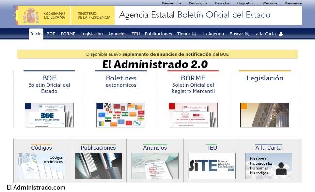 Web del Boletín Oficial del Estado