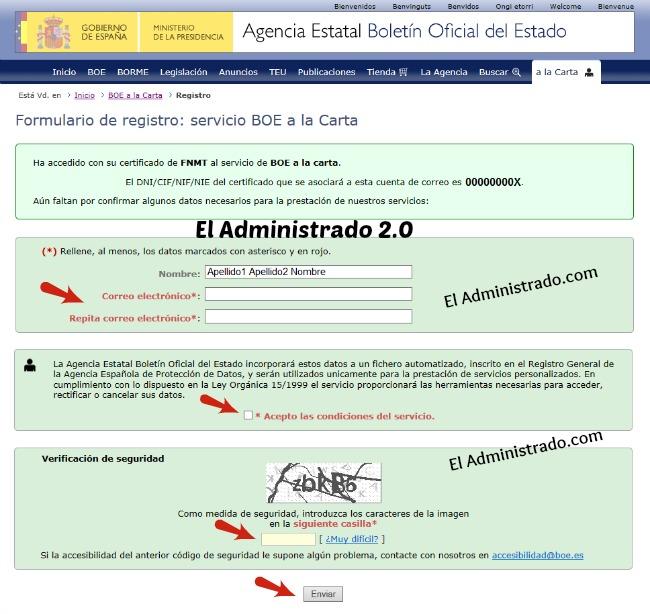 Completar datos para registro en BOE a la Carta
