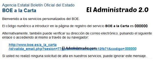 Mail de alta en BOE a la Carta