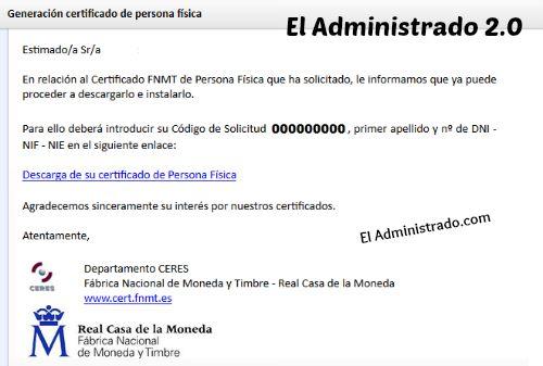 Correo para terminar la instalación del certificado CERES